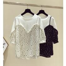 韓國東大門~首爾夏季熱賣款♥超唯美假兩件式寬鬆雪紡拼接點點上衣✿簡單~又氣質~☁ 上班~旅遊~必備 ◙ ◚ ◛ 2色可選  M-XL