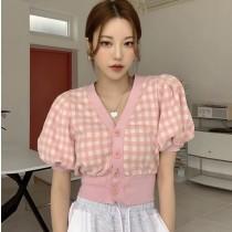 韓國東大門~設計首爾熱賣款✿復古格紋設計大蓬泡泡袖上衣✿☁ 約會~旅遊~上班~必備 ◙ 2色可選