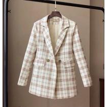✽✾韓國東大門~早春新款✽韓星同款黃色格子超質感修身西裝外套✾✔超減齡✿✔超氣質 ✔超質感 ✔超好搭  S-L **實品如圖---現貨L號一件***