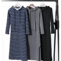 韓系修身有型連帽T型時尚休閒款長版連衣裙3色