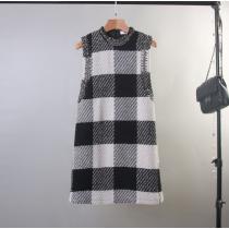 韓版英倫復古釘珠黑白格厚棉無袖A字背心洋裝連衣裙