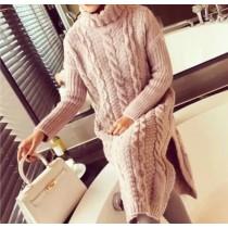 韓系針織高領毛料寬鬆雙邊開岔長版洋裝 3色