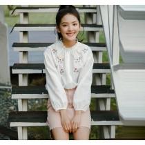 韓版小花寬鬆短版燈籠袖上衣