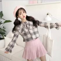 韓系甜美學院風荷葉邊領子格紋翻領襯衫