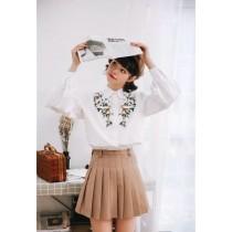 韓版寬鬆學院風復古刺繡襯衫
