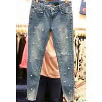 韓國東大門時尚釘珠修身牛仔褲 S~XL