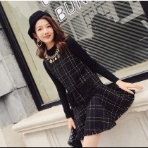 韓系質感時髦小香風珍珠裝飾格紋毛料背心洋裝