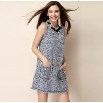 韓系質感小香名媛風項鍊裝飾毛料背心洋裝