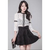 韓系法式浪漫優雅蕾絲鉤花刺繡氣質款九分袖上衣