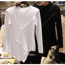 韓版純色竹節棉不規則剪裁修身T恤2色