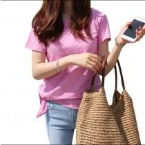 韓國休閒純棉下擺可打結素色短袖T恤 3色