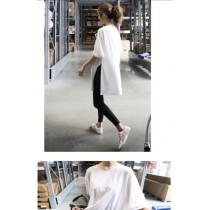 韓版個性寬鬆開岔素色T恤