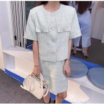 韓國東大門~設計首爾熱賣款✿夏季法式圓領粗針鈕扣貴氣短袖短裙套裝組✿☁ 約會~旅遊~上班~必備 ◙ ◚ ◛2色可選 S-M