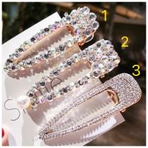 韓國東大門滿版鑽石閃閃發亮強眼造型髮夾 3款