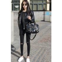 韓國東大門秋季新款破洞及無破洞超顯瘦高彈性黑色小腳鉛筆褲