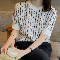 韓國東大門♛~韓國首爾熱賣♛圓領百搭幾何撞色花紋針織上衣♛✿超減齡~✿~超百搭~2色可選