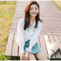 韓版寬鬆清新白色V領繡花雪紡襯衫