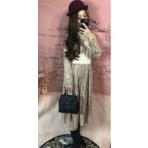 韓系浪漫法式優雅蕾絲雕花前胸拼接貂毛絨精緻毛料質感型洋裝