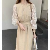 韓國東大門♛~韓國首爾熱賣♛設計感蕾絲拼接長袖修身顯瘦長洋裝♛✿超減齡~✿~超實搭~~!! 2色可選  M-4XL