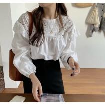 ✽✾韓國東大門~首爾熱銷款✽圓領荷葉邊簍空泡泡袖氣質款上衣✔超減齡✿✔超氣質 ✔超文青 ✔超好搭