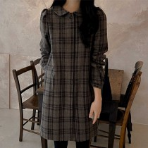 韓國東大門♛~韓國首爾熱賣♛復古文青格紋氣質娃娃領加厚連身洋裝♛✿超減齡~✿~超百搭~S-L可選