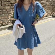 韓國東大門~夏設計首爾熱賣款♥超顯白深V領雙側腰部皺褶小心機造型連身短洋裝✿超氣質可愛~☁ 約會~旅遊~餐會~必備 ◙ ◚ ◛ 3色可選 S-M