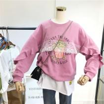 韓國東大門~冬季首爾熱賣款♥卡通爆米花蕾絲拼接荷葉邊寬鬆上衣✿超休閒~☁ 上班~旅遊~必備 ◙ ◚ ◛   5色可選