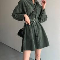 韓國東大門~設計首爾熱賣款✿復古法式燈芯絨收腰顯瘦中長款長袖連身裙(附綁帶)✿保暖俐落超有型~☁ 約會~旅遊~上班~必備 ◙ ◚ ◛S-M可選