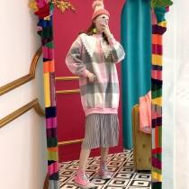 韓國東大門~秋冬款~首爾熱賣款♥文青俏皮復古風雙色格紋蕾絲領搭配百褶裙假兩件式連身裙✿超休閒~☁ 上班~旅遊~必備 ◙ ◚ ◛2色