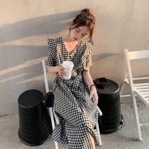✽✾韓國東大門~早春新款✽經典格紋立體袖造型綁帶洋裝連身裙✾✔超減齡✿✔超氣質 ✔超質感 ✔超好搭  S-XL