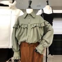 韓國東大門~冬季首爾熱賣款♥復古文青木耳邊落肩造型設計襯衫✿超休閒~☁ 上班~旅遊~必備 ◙ ◚ ◛  3色可選 S-XL