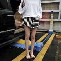韓國東大門韓國首爾熱賣款~♛簡約百搭高腰顯瘦不規則粗條紋流蘇休閒短褲~✿~!! S~L