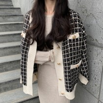 韓國東大門~秋冬~首爾熱賣款♥時髦小香風V領針織質感修身不挑身材毛料保暖外套~☁ 上班~洽公必備 ◙ ◚ ◛ 2色可選