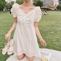 ✽✾韓國東大門✽✾氣質雪白縷空飄逸泡泡袖洋裝✿ ✔超減齡 ✔超涼快 ✔超好搭  S~M