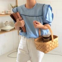 韓國東大門韓國首爾熱賣款~♛海軍風圓領撞色滾邊設計寬鬆泡泡袖上衣~✿不悶熱~✿超甜美~✿網紅超推!! 3色