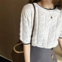 韓國東大門~夏季設計首爾熱賣款♥寬鬆愛心圖案短袖簍空薄款針織上衣✿超休閒~☁ 上班~旅遊~必備 ◙ ◚ ◛ 2色可選 S-XL