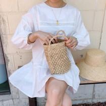 韓國東大門~首爾熱賣款~簡齡甜美圓領寬鬆☁簍空鈎花設計燈籠袖娃娃連身裙洋裝☁~