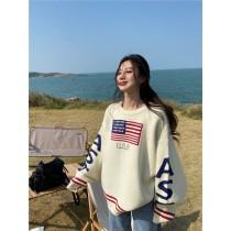 韓國東大門♛~韓國首爾熱賣♛OVER SIZE英文字母印花慵懶中長款燈籠袖針織毛衣♛✿超減齡~✿~超百搭~ 2色可選