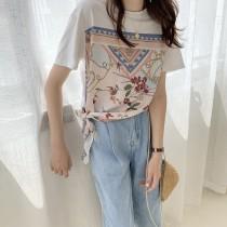 韓國東大門♛~韓國首爾熱賣♛韓版圓領寬鬆設計感印花綁帶短袖T恤♛✿超減齡~✿~超實搭~~超推!!  S-L