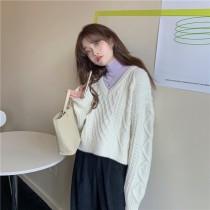 韓國東大門韓系復古麻花短版針織毛衣  3色