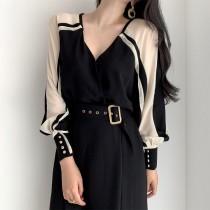 韓國東大門~設計首爾熱賣款✿法式V領露鎖骨雙側燈籠袖透膚性感長洋裝✿☁ 約會~旅遊~上班~必備 ◙ ◚ ◛