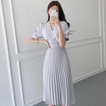 韓國東大門~夏季設計首爾熱賣款✿優雅輕熟風V領後鬆緊綁帶仙氣洋裝✿超氣質~☁ 約會~旅遊~上班~必備 ◙ ◚ ◛ 2色可選 S-L