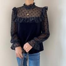 韓國東大門♛~韓國首爾熱賣♛法式復古甜美立領點點透膚荷葉邊燈籠袖氣質上衣♛✿超減齡~✿~超百搭~ 2色可選