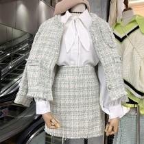 韓國東大門~初秋~首爾熱賣款♥重磅數~粗毛料小香風外套+半身短裙套裝組✿超休閒~☁ 上班~旅遊~必備 ◙ ◚ ◛S~M