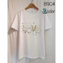 韓國東大門LOVE花朵字母立體印花T恤2色