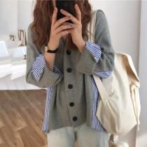 韓國東大門秋季新品直條紋拼接針織襯衫寬鬆毛衣外套 2色