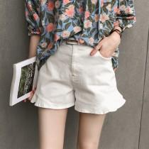 韓國東大門高腰休閒寬鬆下擺荷葉邊牛仔短褲(附皮帶)  2色