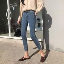 韓國東大門韓版秋季復古水洗百搭修身顯瘦九窄管小腳牛仔褲