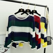 美式休閒條紋長袖針織寬鬆T恤 3色