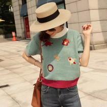 韓系可愛小恐龍童趣圖案撞色針織毛料短袖上衣 2色
